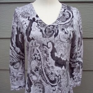 Coldwater Creek Sweater Sz S 6 8 Gray Paisley